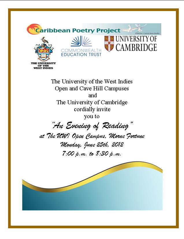 "Invitation To Attend UWI and University of Cambridge "" Evening of Reading"""