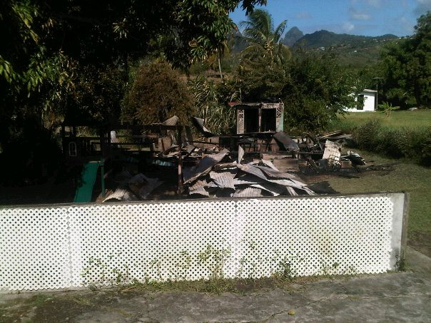 Choiseul Preschool completely destroyed by fire.  (St Lucia News)