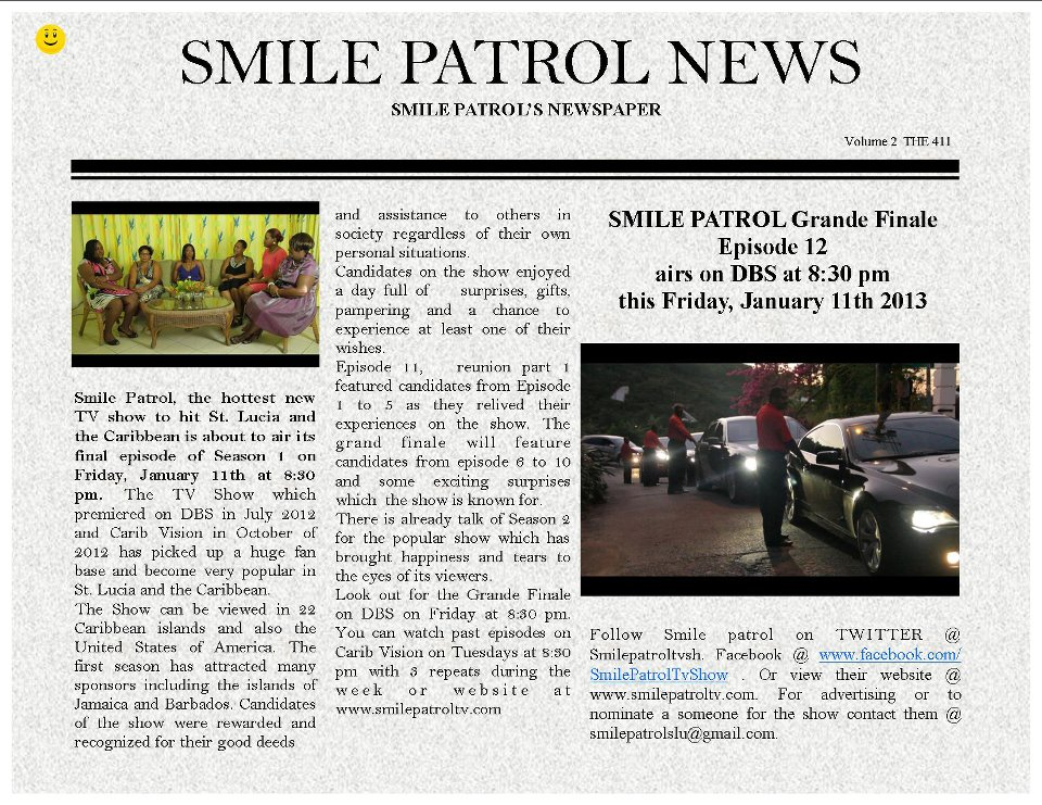 Smile Patrol S01e12 airs 11th Jan on Local tv (St Lucia News)