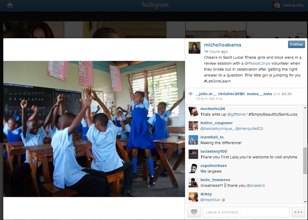 Michelle obama posts on instagram about st lucian girl