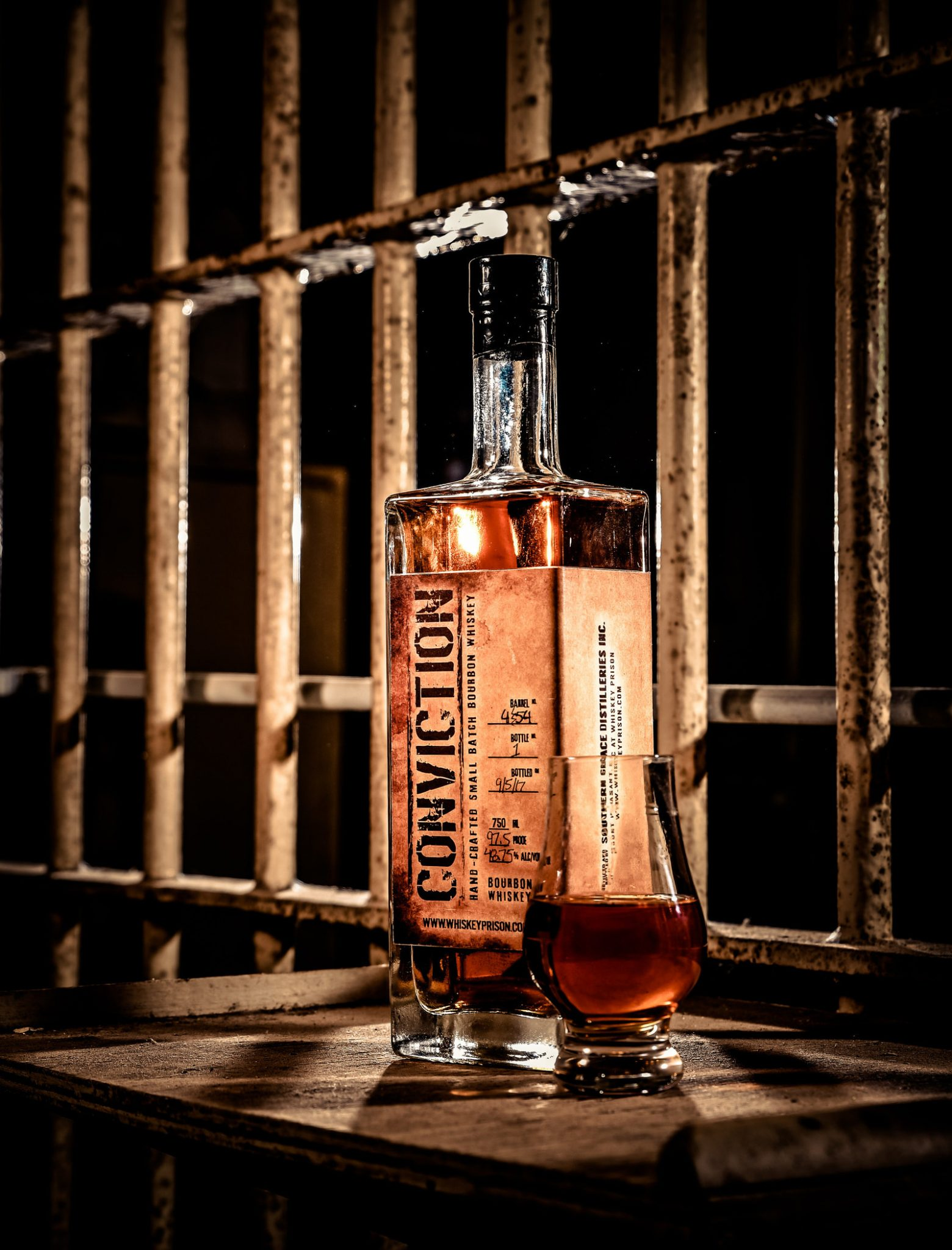 Conviction Small Batch Bourbon Behind Prison Bars